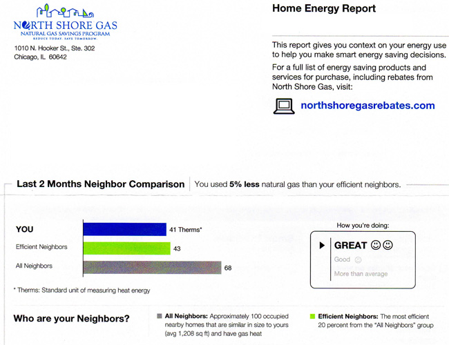 Sprayfoam insulation energy savings receipt from North Shore Gas