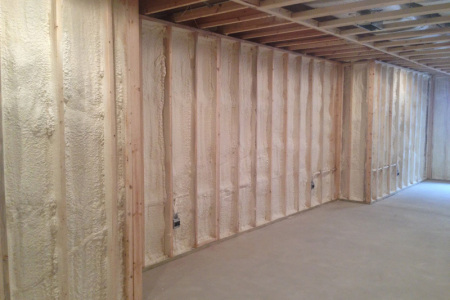 This is the outcome of spraying open cell spray foam insulation in a basement home located in DeerField IL.