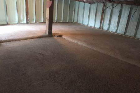 This crawlspace was insulated with closed cell spray foam insulation in Inverness IL.