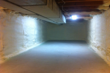 This basement in lake bluff il we applied closed cell spray foam insulation for better structure support.