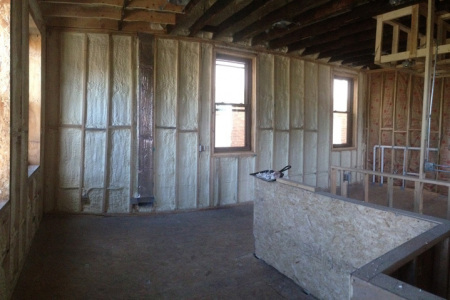 Here we have applied open cell spray foam insulation to the exterior wall of this home in St Charles IL.
