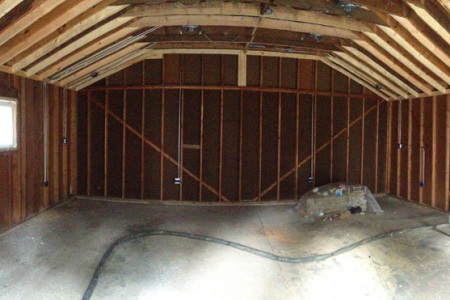Before applying open cell spray foam insulation to the building walls in Hawthorn Woods IL.