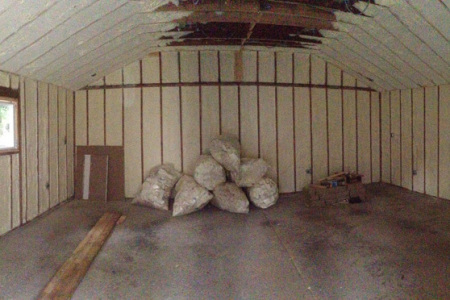 After applying open cell spray foam insulation to this building walls in Hawthorn Wood IL.