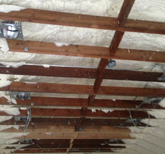This same building in Hawthorn woods il, we applied open cell spray foam to the ceiling.