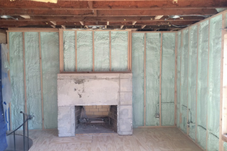 """When remodeling this Elmhurst il home the owner chose Rev Foam to insulate the exterior walls with 3"""" of closed cell Spray Foam isolation increasing the R value by nearly double. Remodeling is the perfect time to save money with Spray Foam."""